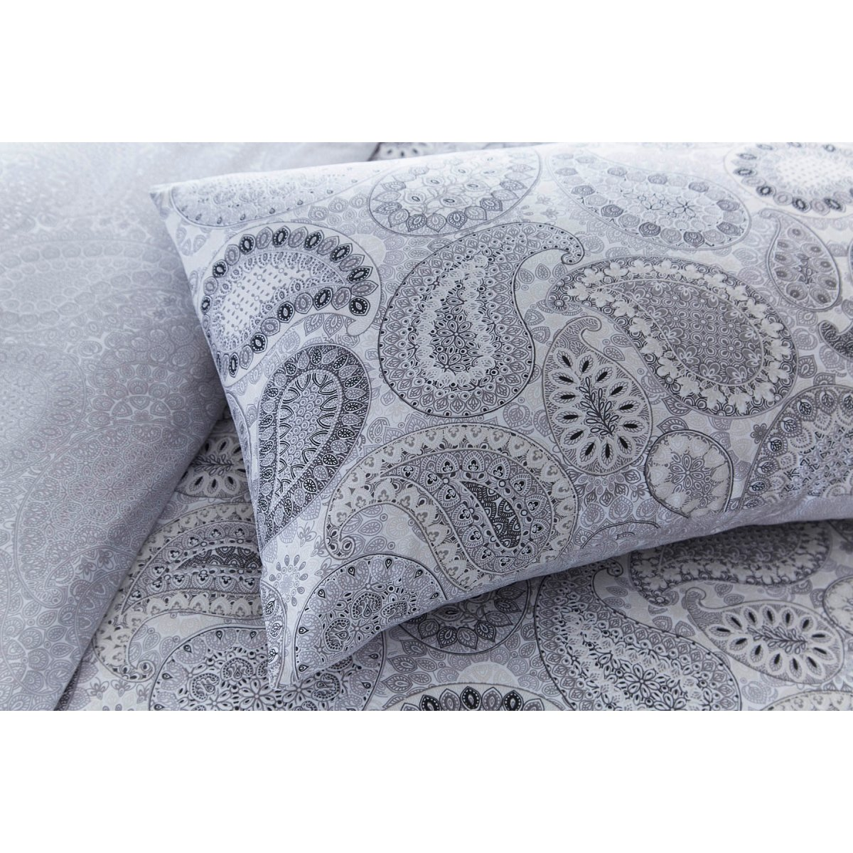Paisley Grey Bedding - Reversible Duvet Cover and Pillowcase Set