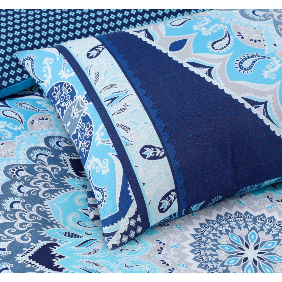 Paisley Mandala Blue Bedding - Reversible Duvet Cover and Pillowcase Set