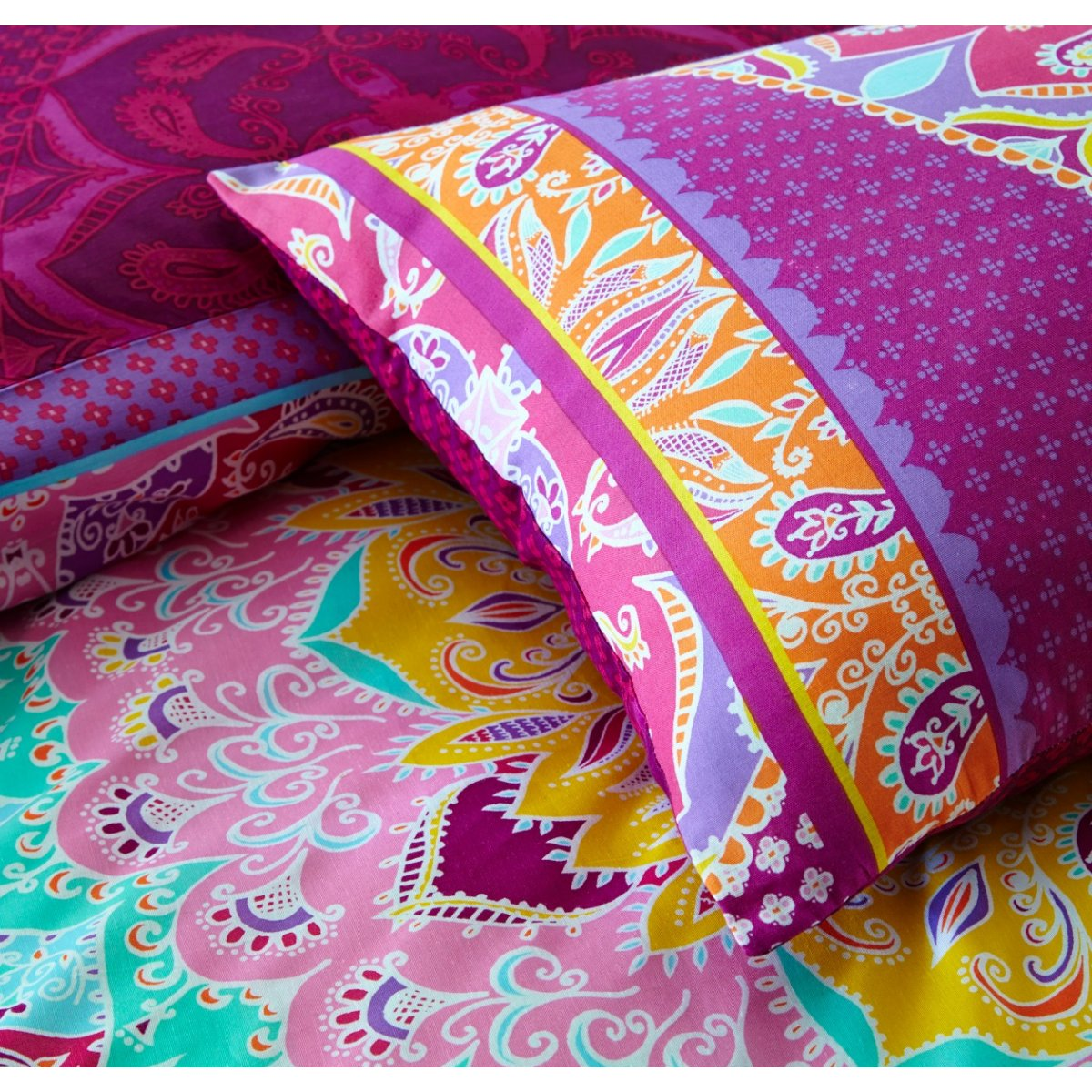 Paisley Mandala Pink Bedding - Reversible Duvet Cover and Pillowcase Set
