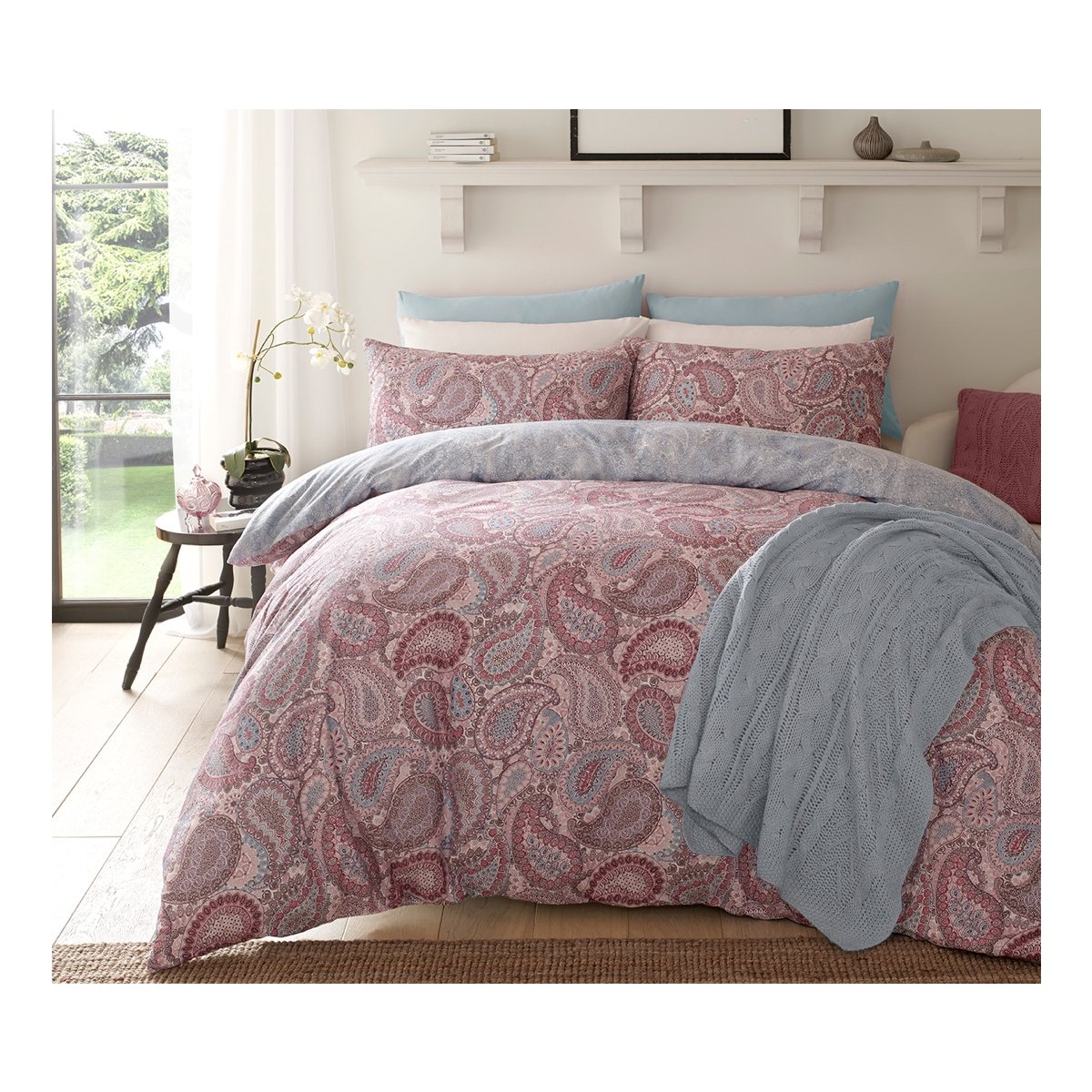 Paisley Purple Bedding - Reversible Duvet Cover and Pillowcase Set