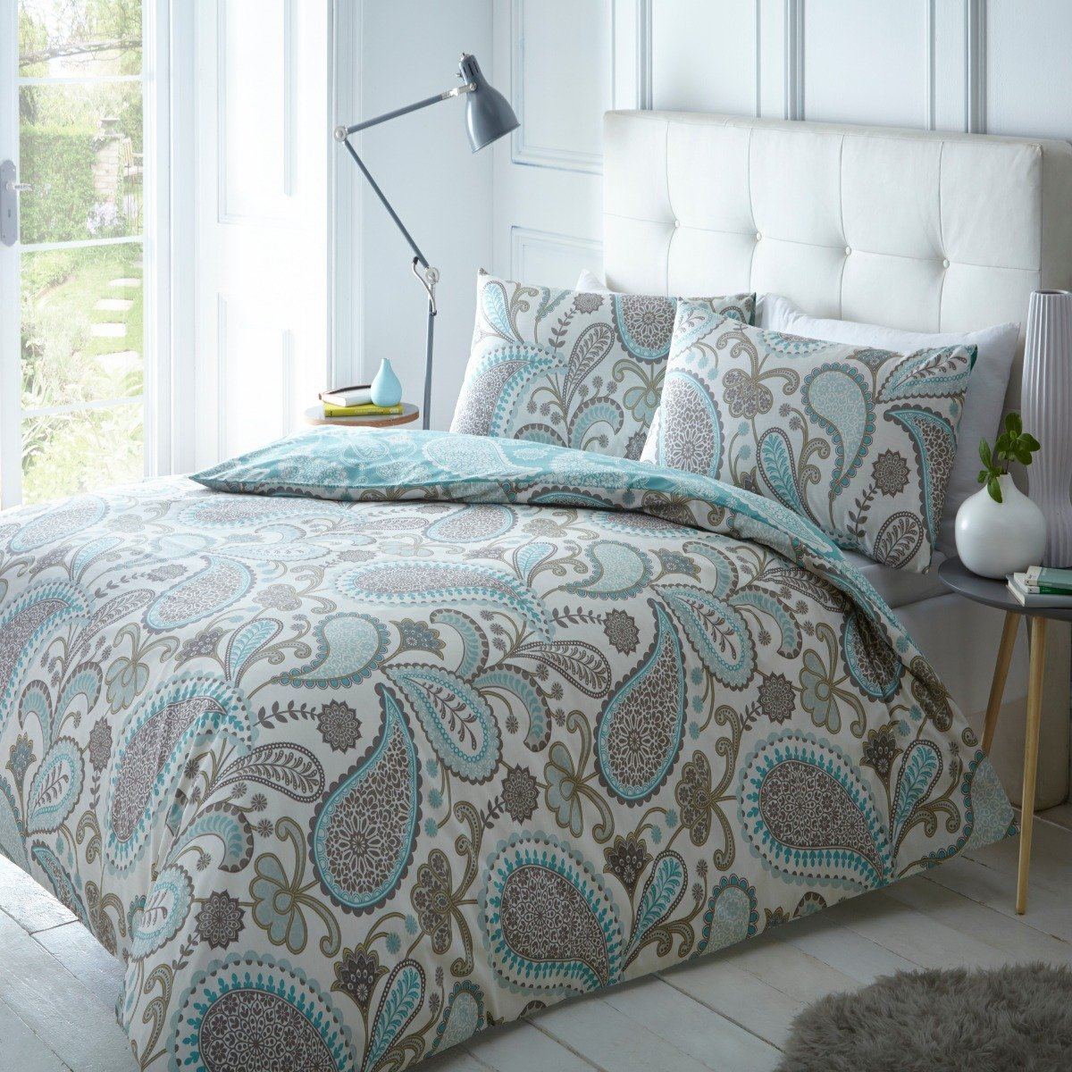 Paisley Teal Bedding - Reversible Duvet Cover and Pillowcase Set
