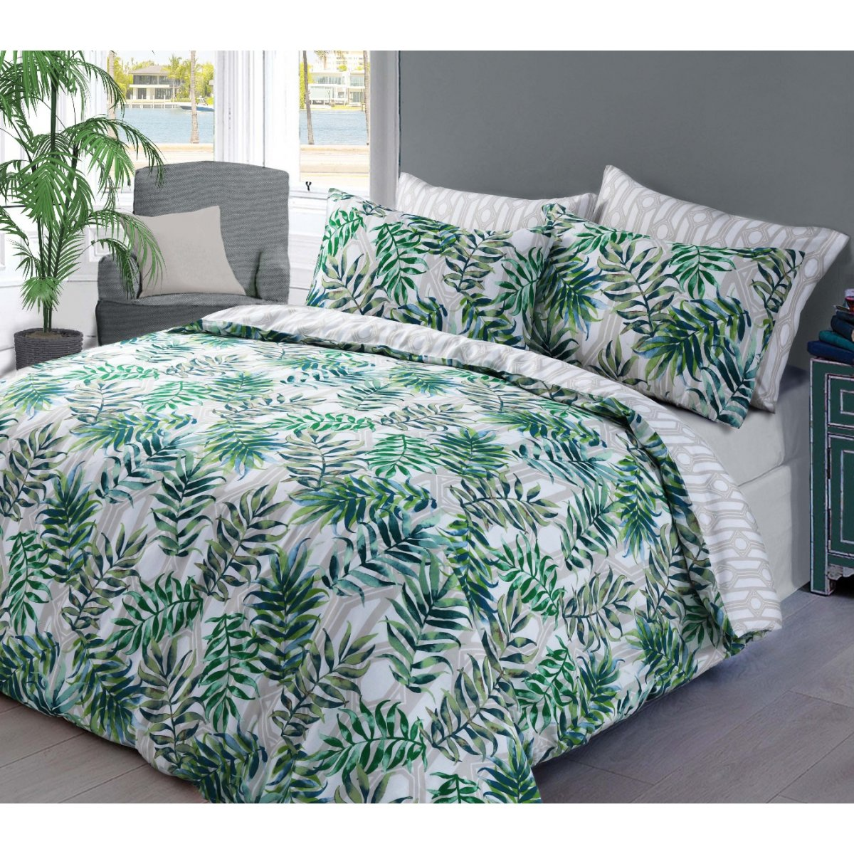 Palm Leaf Green Bedding - Reversible Duvet Cover and Pillowcase Set