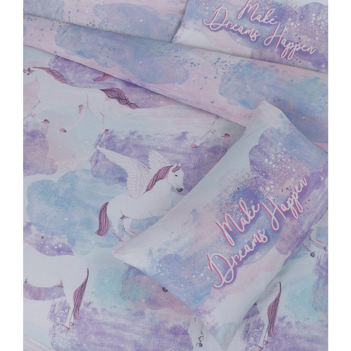 Pegasus Lilac Bedding - Reversible Duvet Cover and Pillowcase Set