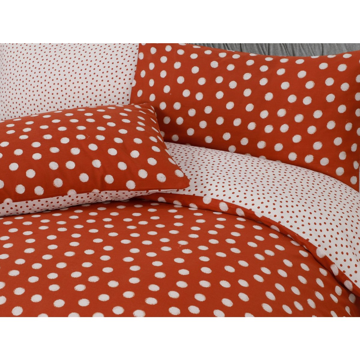 Polka Dot Rust Bedding - Reversible Duvet Cover and Pillowcase Set