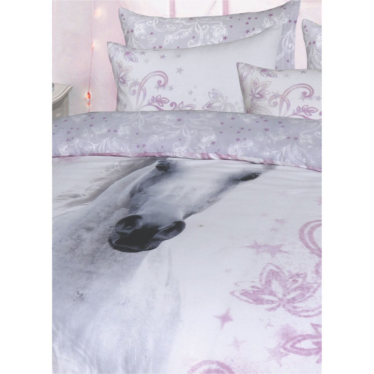 Pretty Unicorn Lilac Bedding - Reversible Duvet Cover and Pillowcase Set