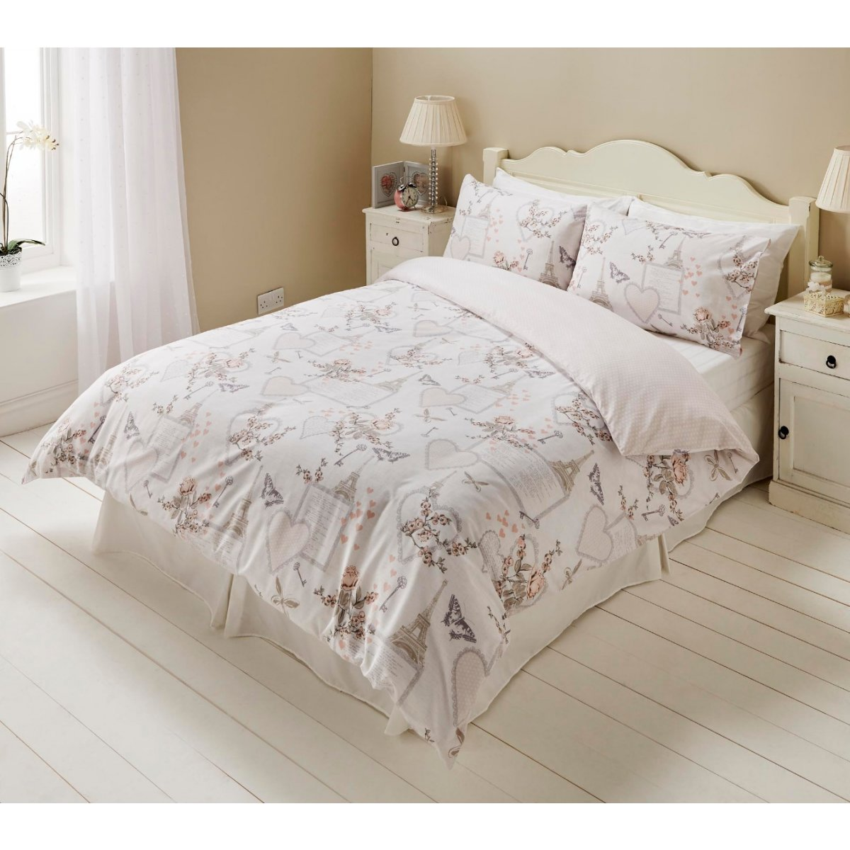 Romantic Bedding - Reversible Duvet Cover and Pillowcase Set