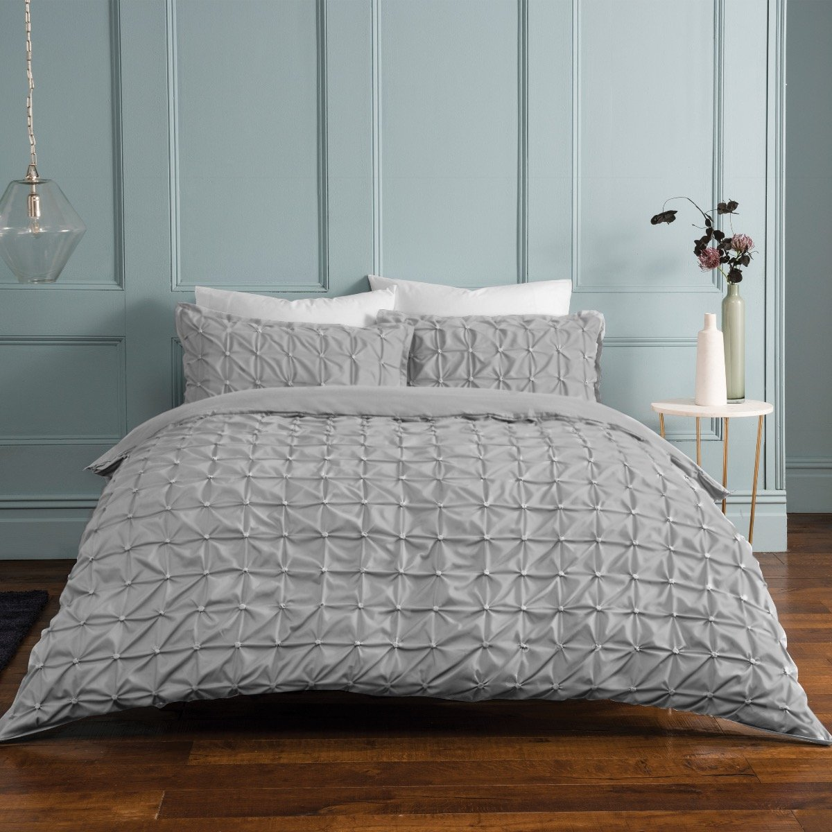 Ruched Pleat Light Grey Bedding - Reversible Duvet Cover and Pillowcase Set