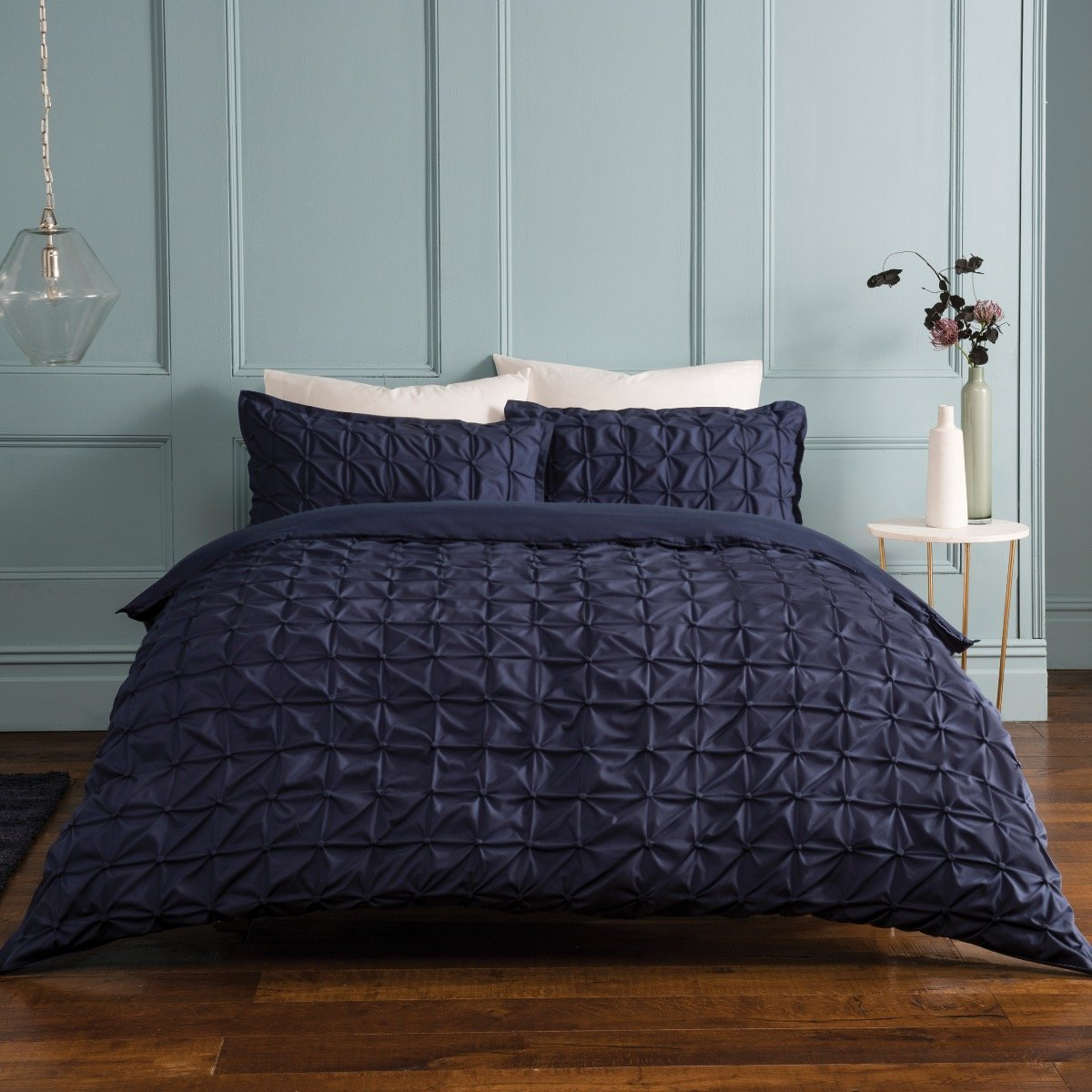 Ruched Pleat Navy Bedding - Reversible Duvet Cover and Pillowcase Set