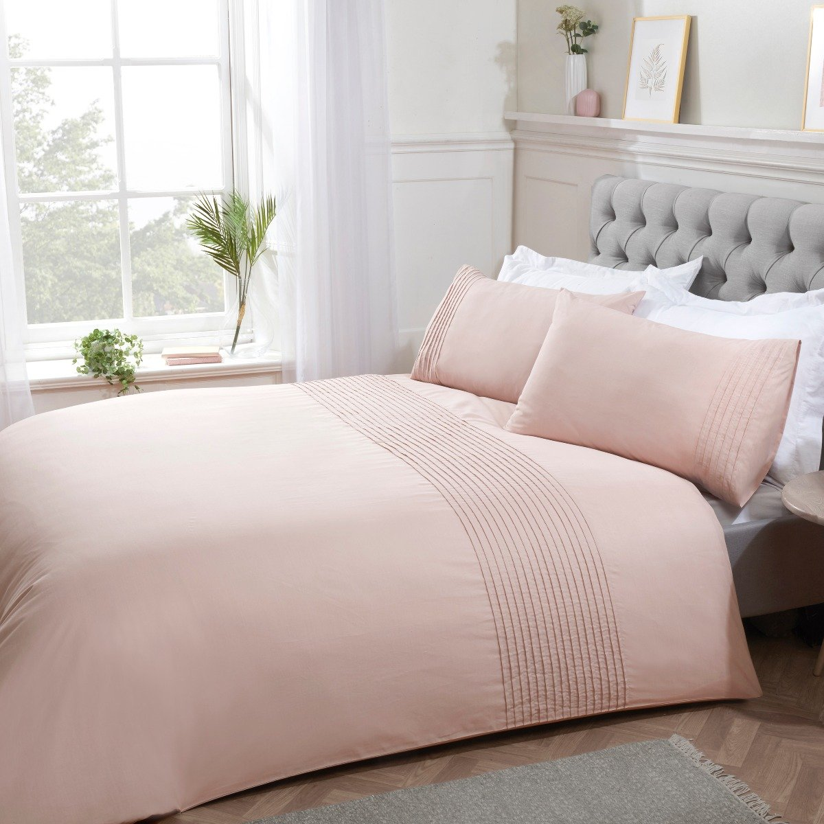 Pintuck Duvet Set Blush