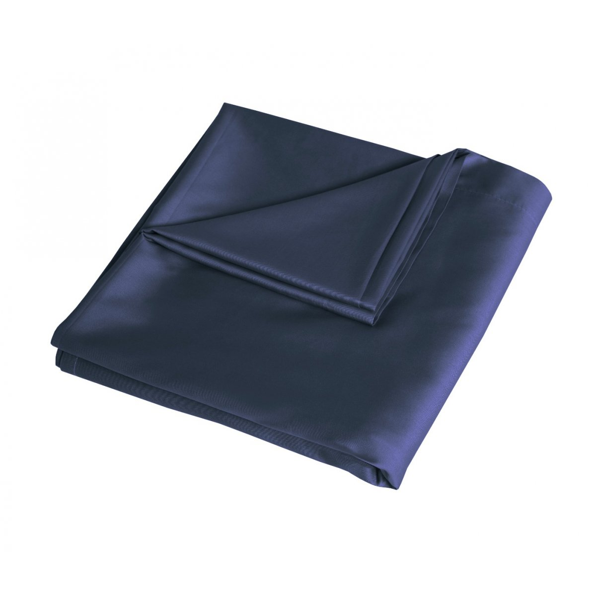 Luxury 100% Cotton Sateen 300 Thread Count Anti-Allergy Flat Bed Sheets - Navy
