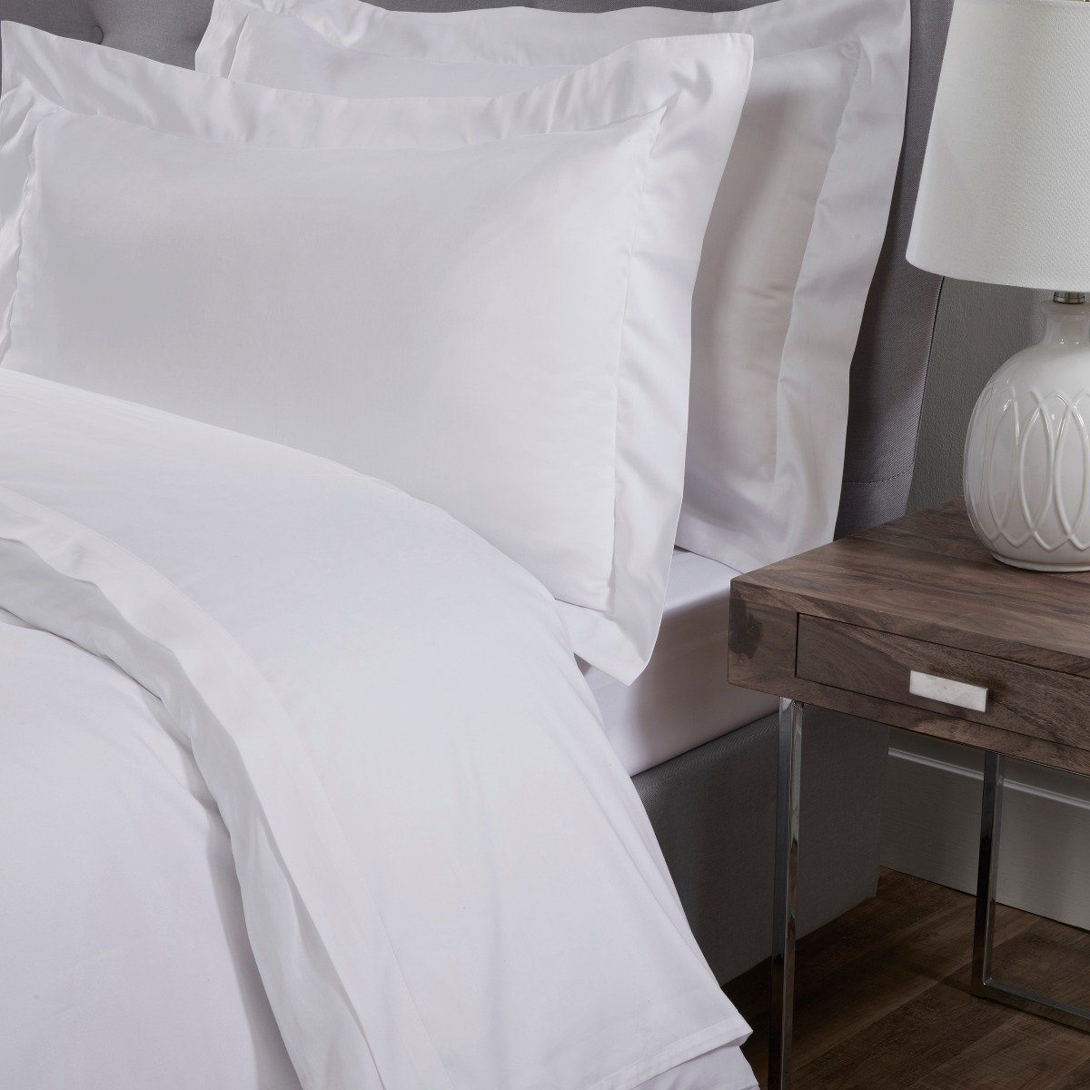Luxury 100% Cotton Sateen 300 Thread Count Anti-Allergy Flat Bed Sheets White