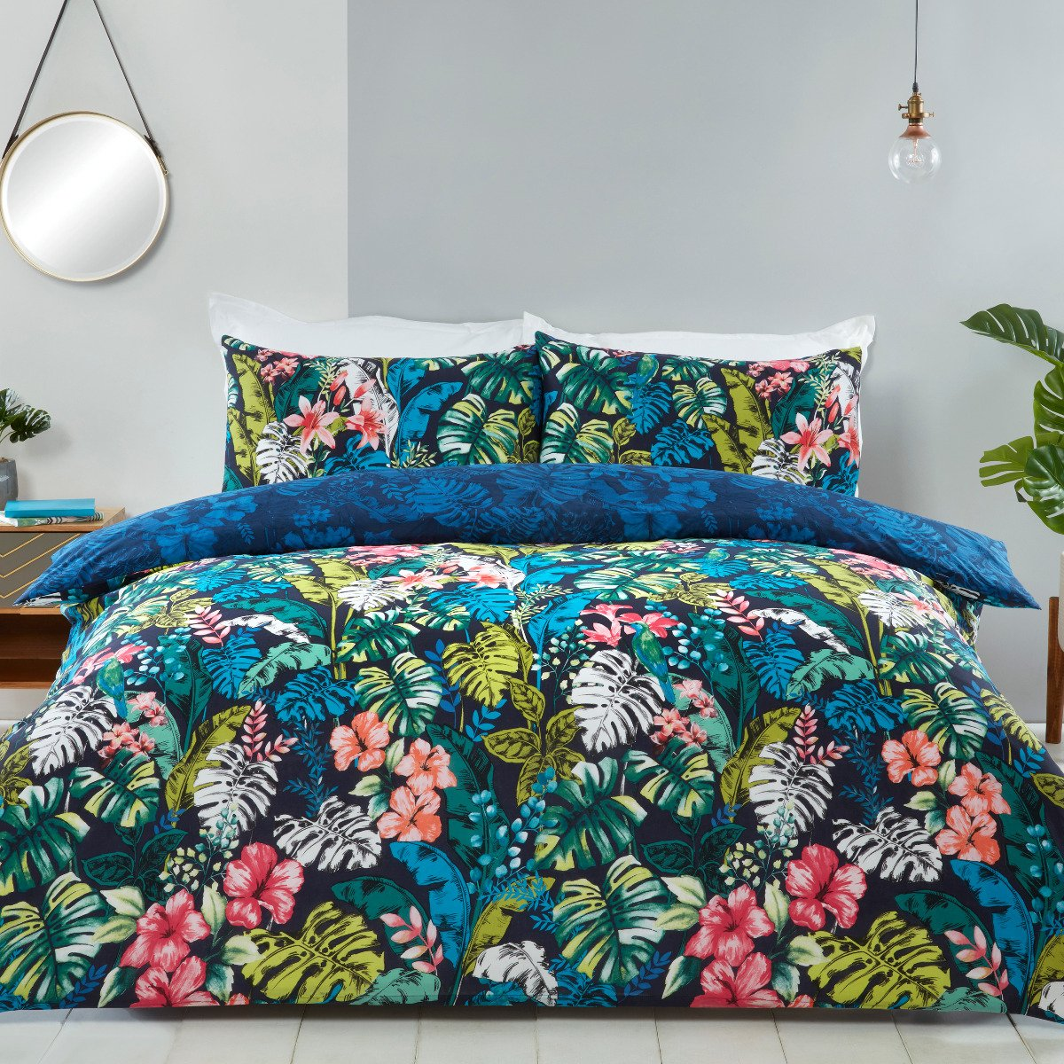 Tropical Jungle Leaf Navy Bedding Reversible Duvet Cover And Pillowcase Set