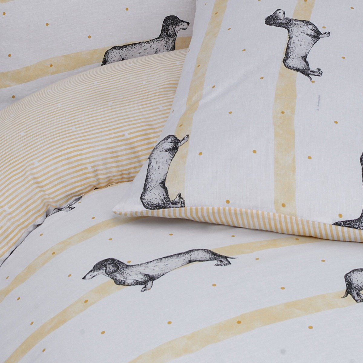 Sausage Dogs Ochre Bedding - Reversible Duvet Cover and Pillowcase Set
