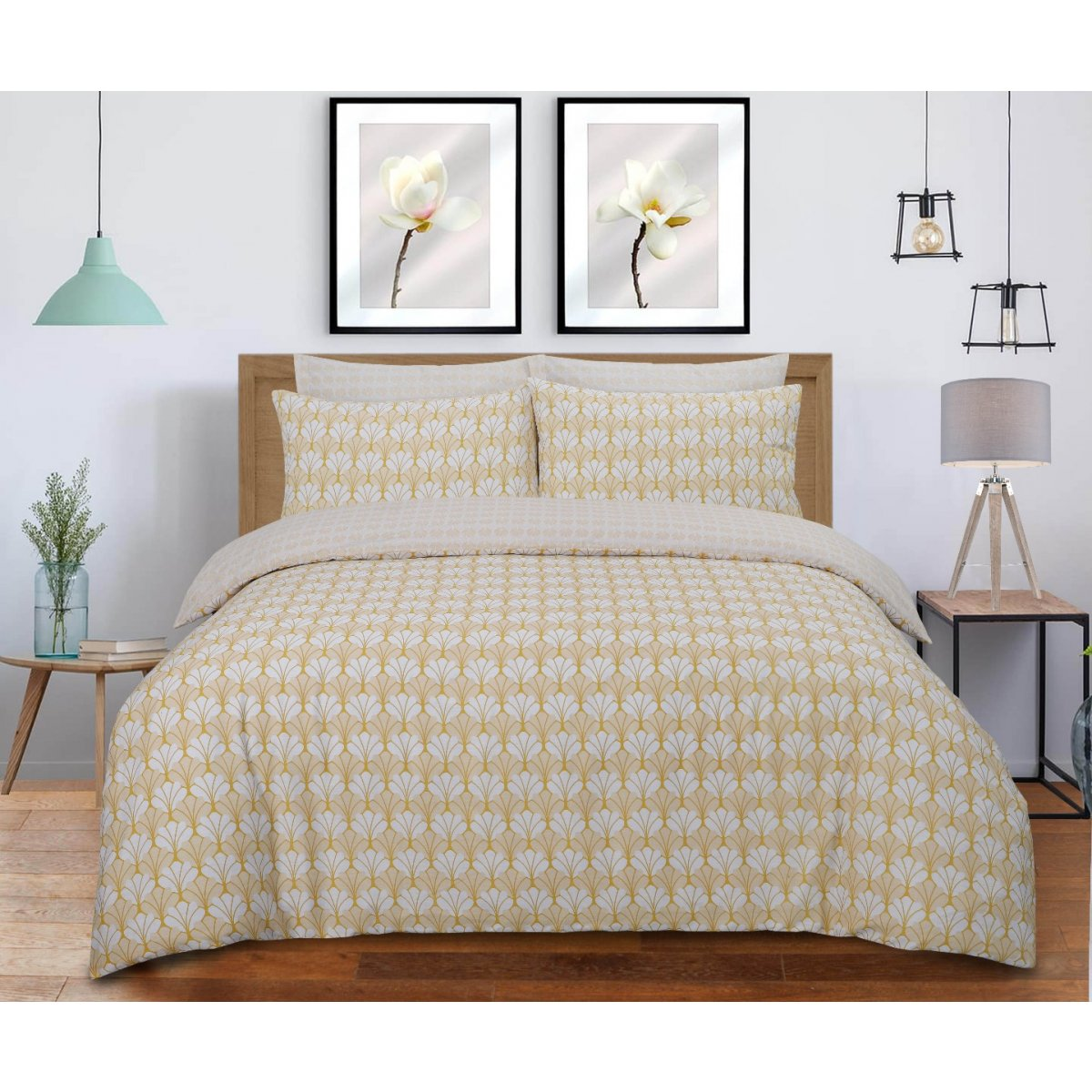 Scallop Ochre Bedding - Reversible Duvet Cover and Pillowcase Set