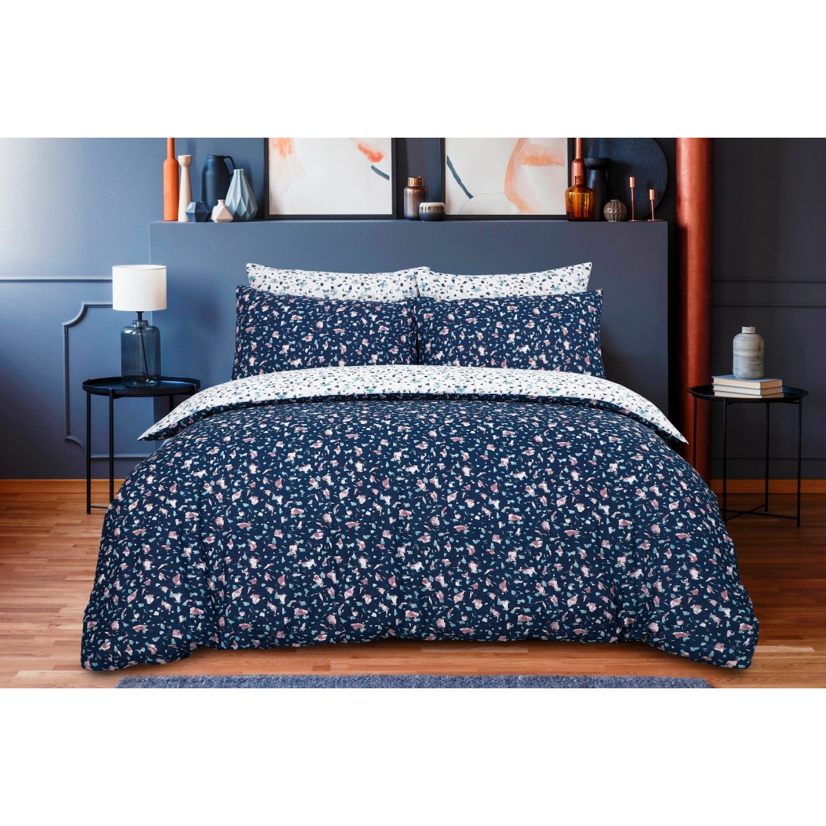 Scattered Terrazzo Navy Bedding - Reversible Duvet Cover and Pillowcase Set