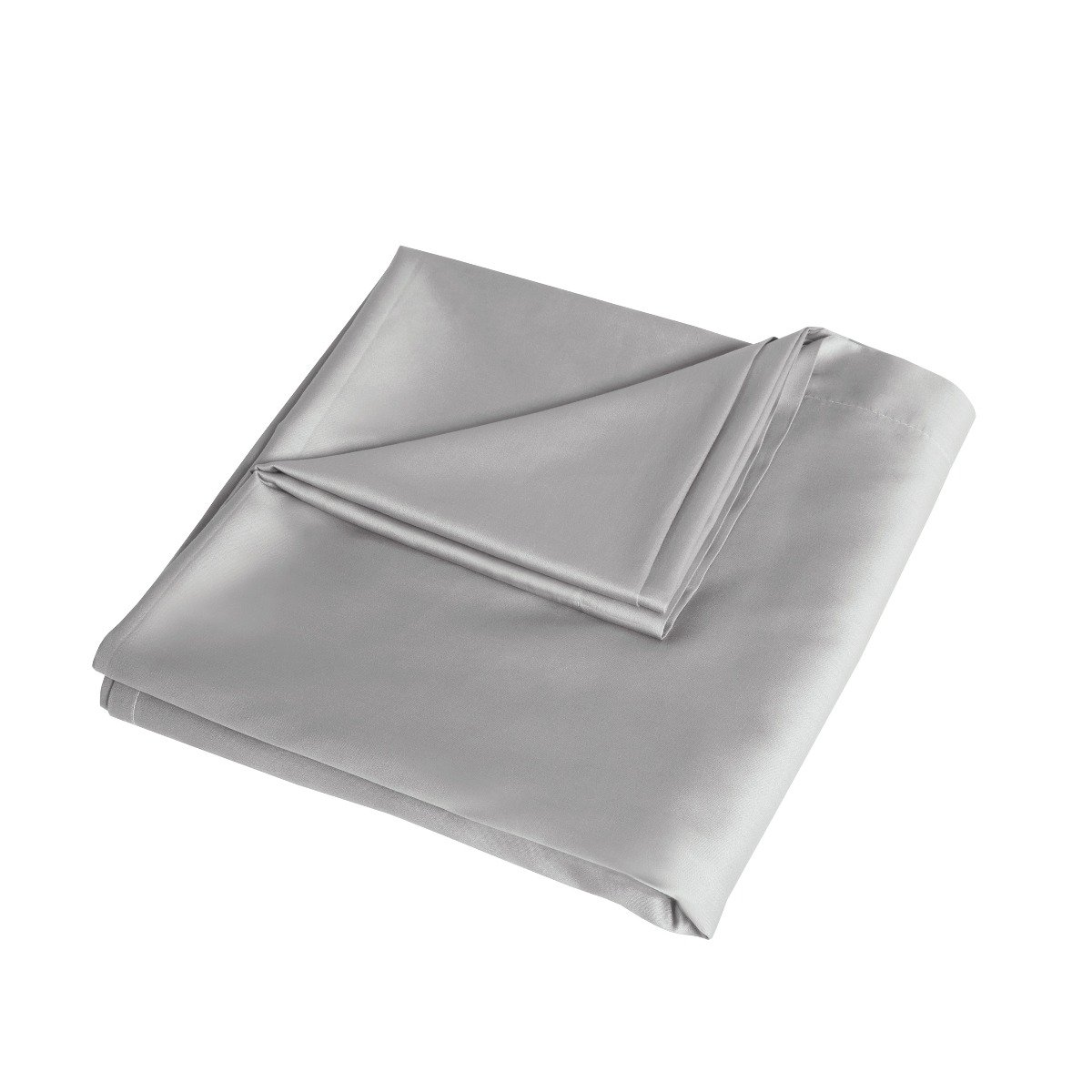 Luxury 100% Cotton Sateen 300 Thread Count Anti-Allergy Flat Bed Sheets Silver