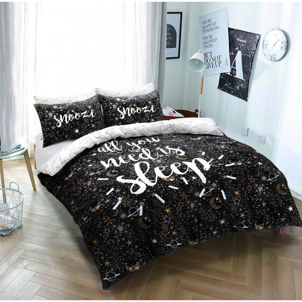 Sleep Slogan Bedding - Reversible Duvet Cover and Pillowcase Set