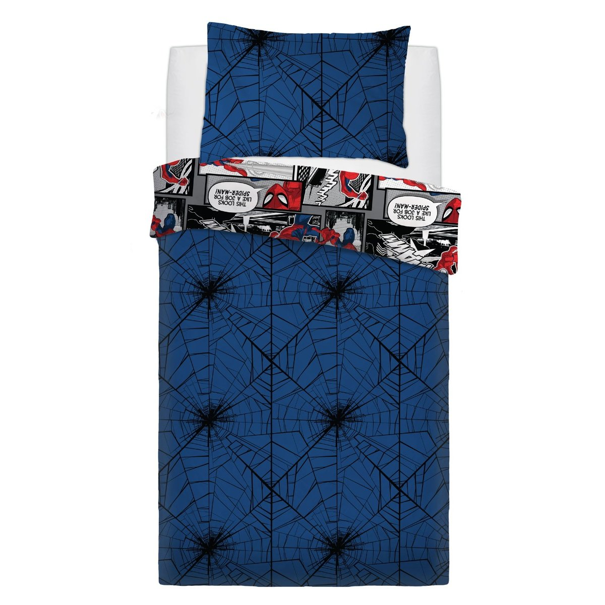 SpiderMan Webs Bedding - Reversible Duvet Cover and Pillowcase Set