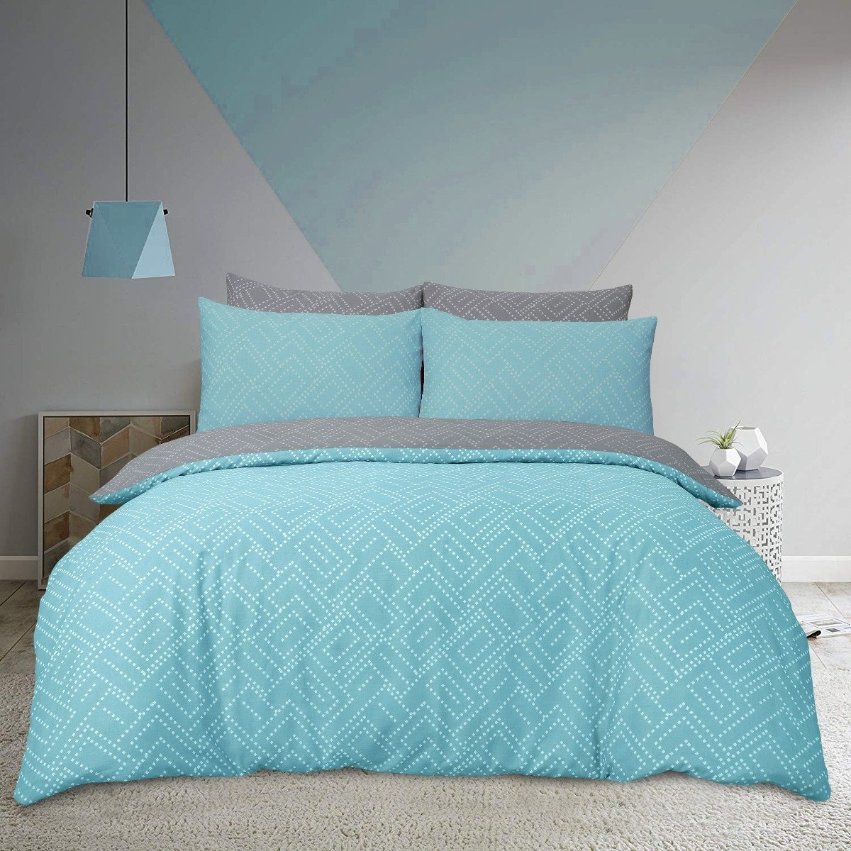 Square Dot Geo Grey Bedding - Reversible Duvet Cover and Pillowcase Set