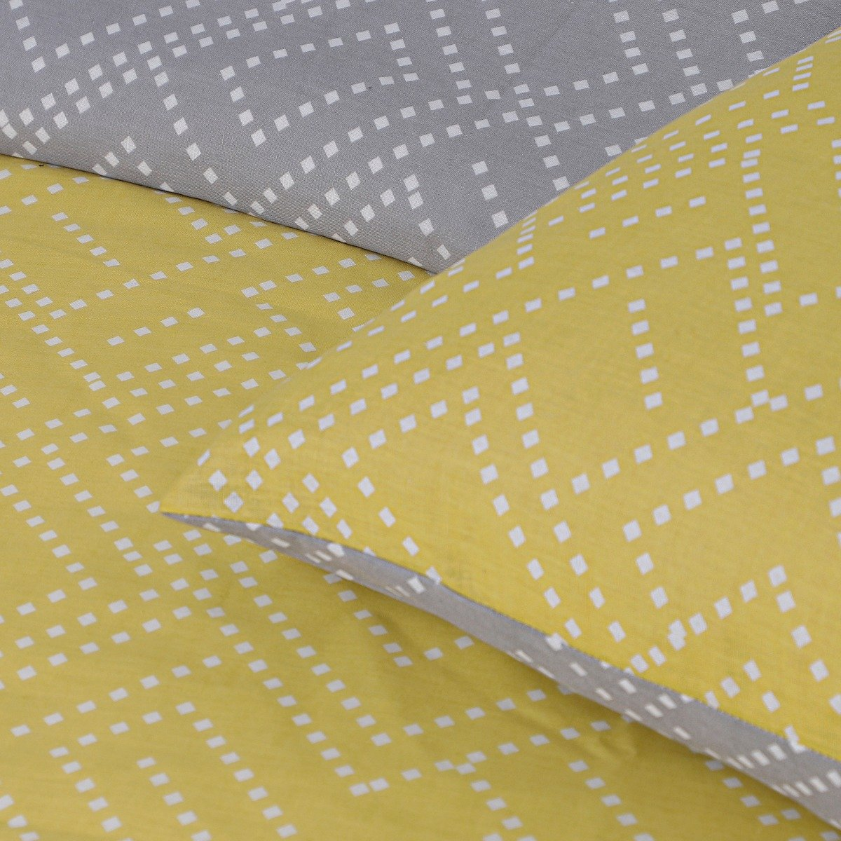 Square Dot Geo Ochre Bedding - Reversible Duvet Cover and Pillowcase Set