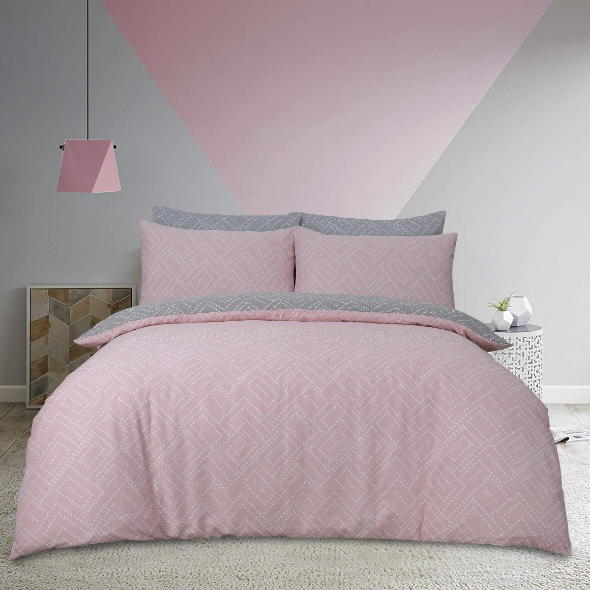 Square Dot Geo Pink Bedding - Reversible Duvet Cover and Pillowcase Set