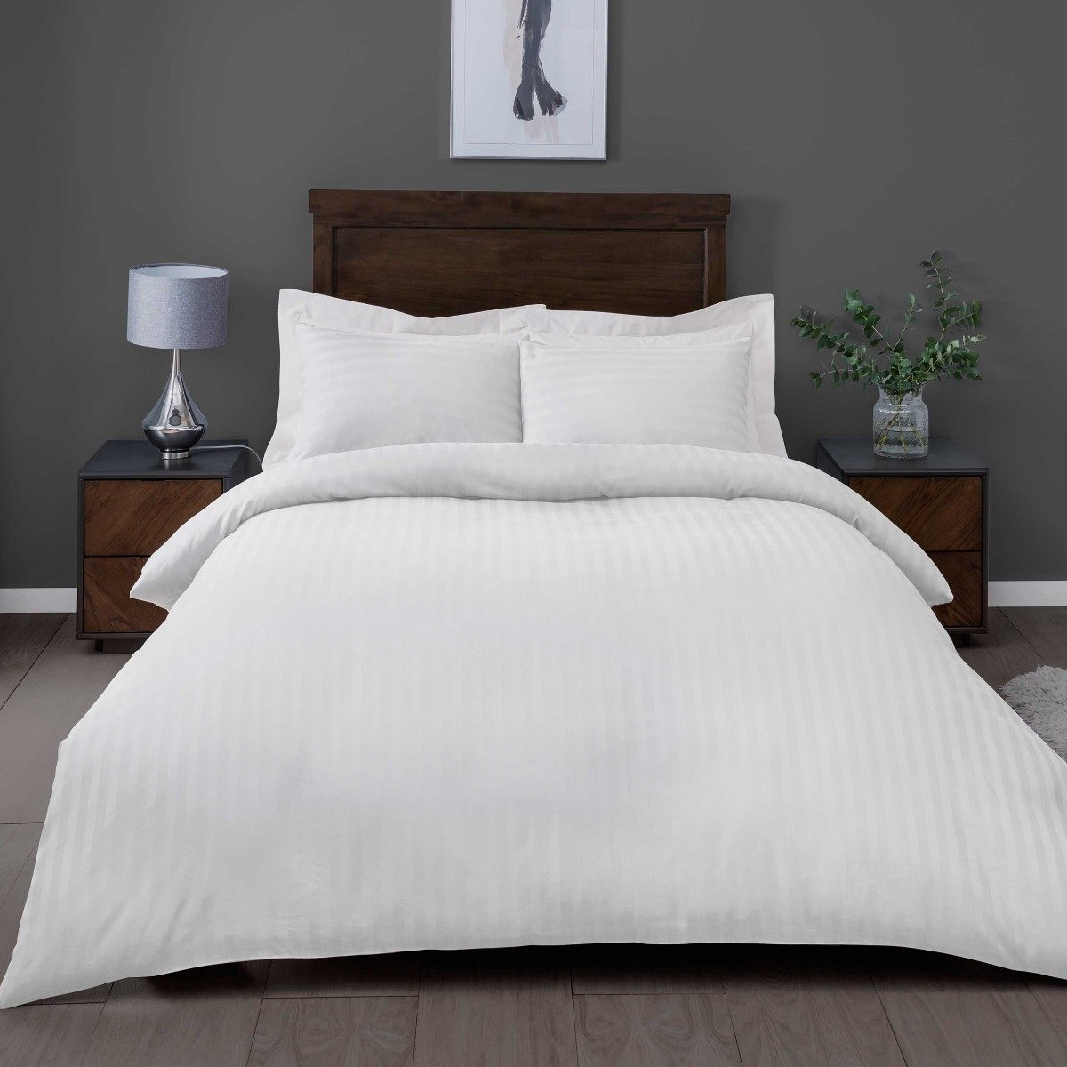 Satin Stripe White Bedding - 225 Thread Count Duvet Cover and Pillowcase Set