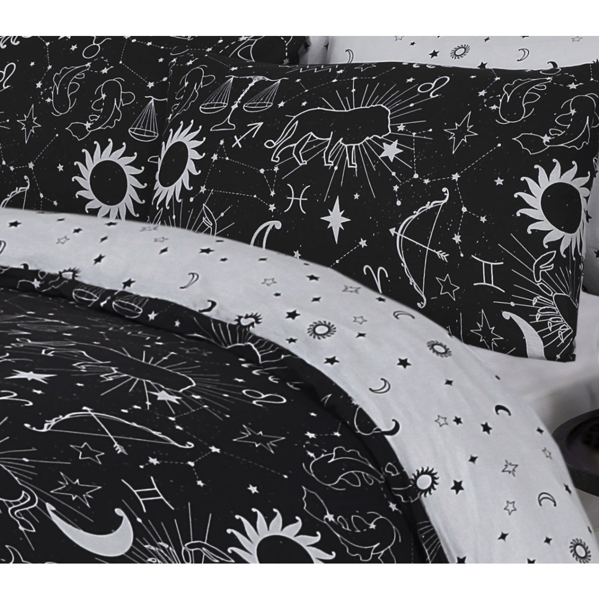 Star Gazing Black Bedding - Reversible Duvet Cover and Pillowcase Set