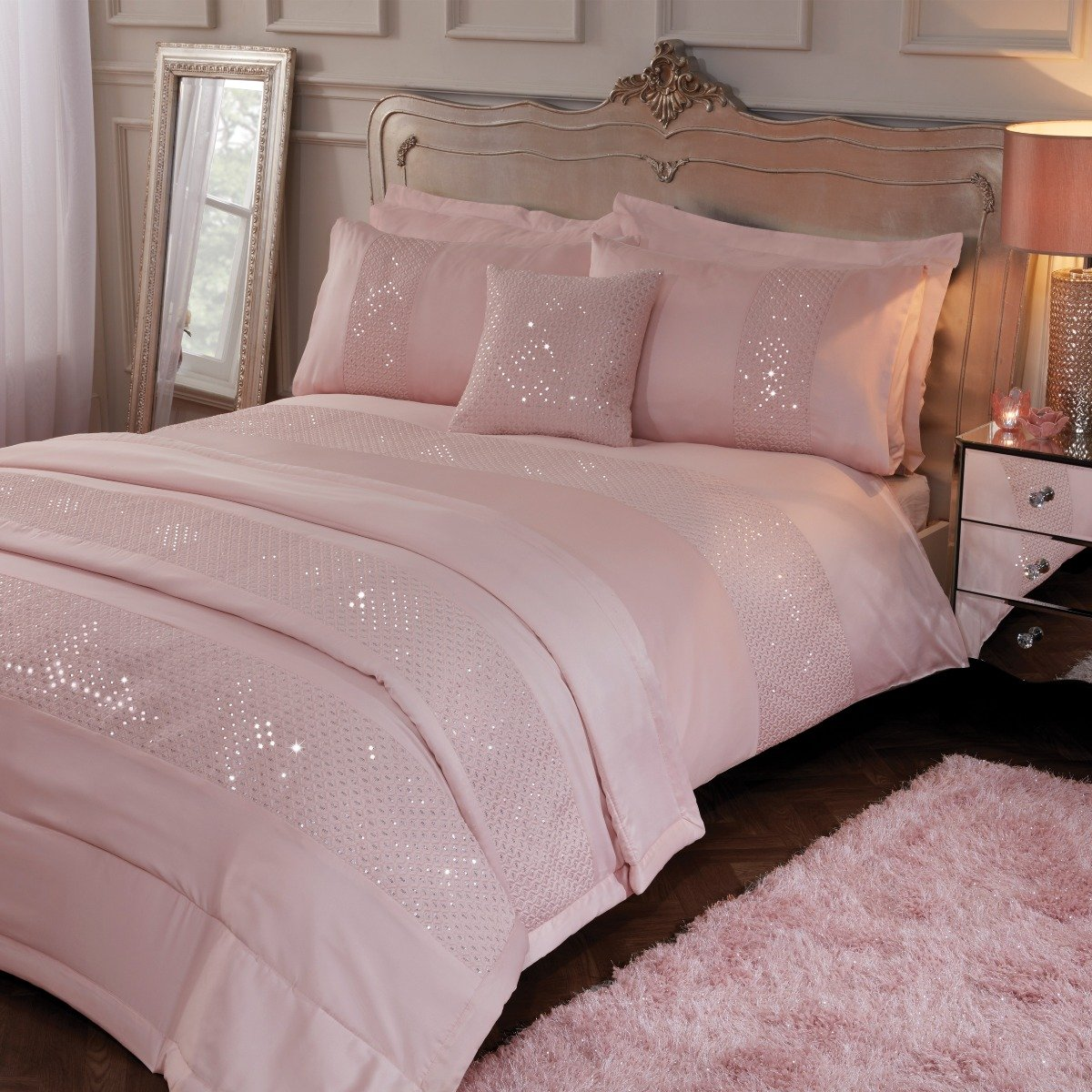 Subtle Sequins Bedding - Reversible Duvet Cover and Pillowcase Set