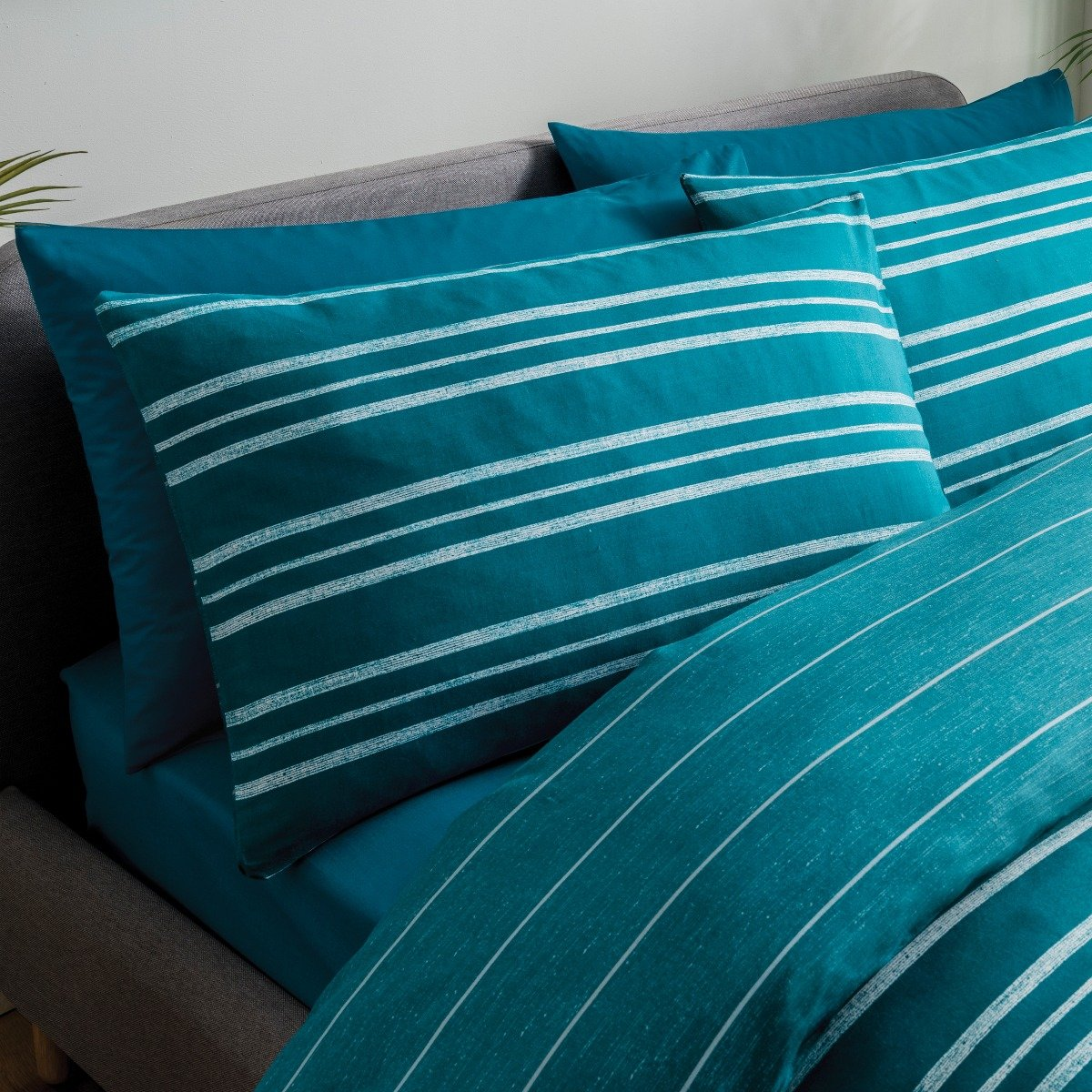 Textured Stripe Teal Bedding - Reversible Duvet Cover and Pillowcase Set