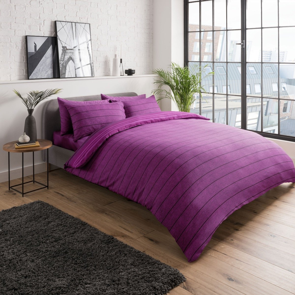 Textured Stripe Purple Bedding - Reversible Duvet Cover and Pillowcase Set