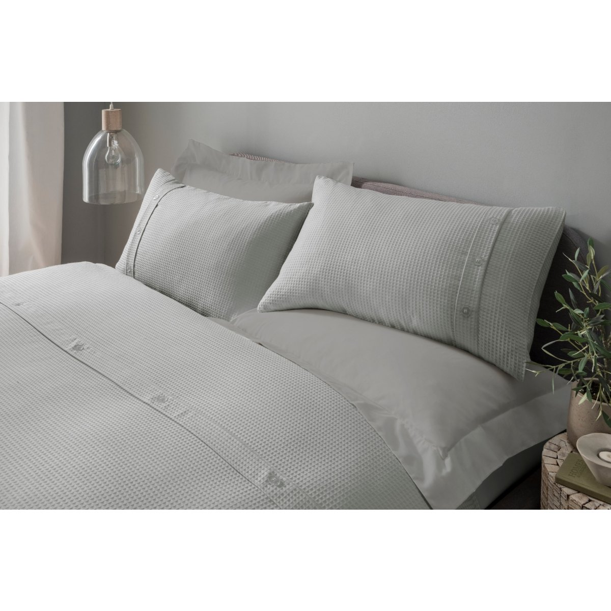 Waffle Grey Bedding - Duvet Cover and Pillowcase Set