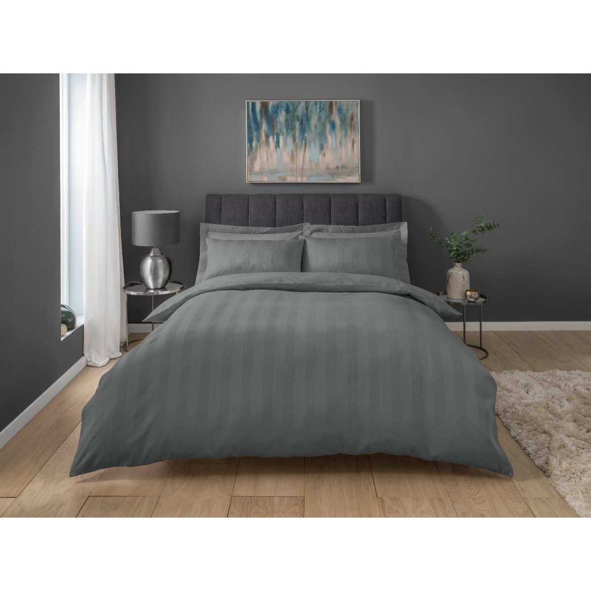 Stripe Waffle Charcoal Bedding - Duvet Cover and Pillowcase Set