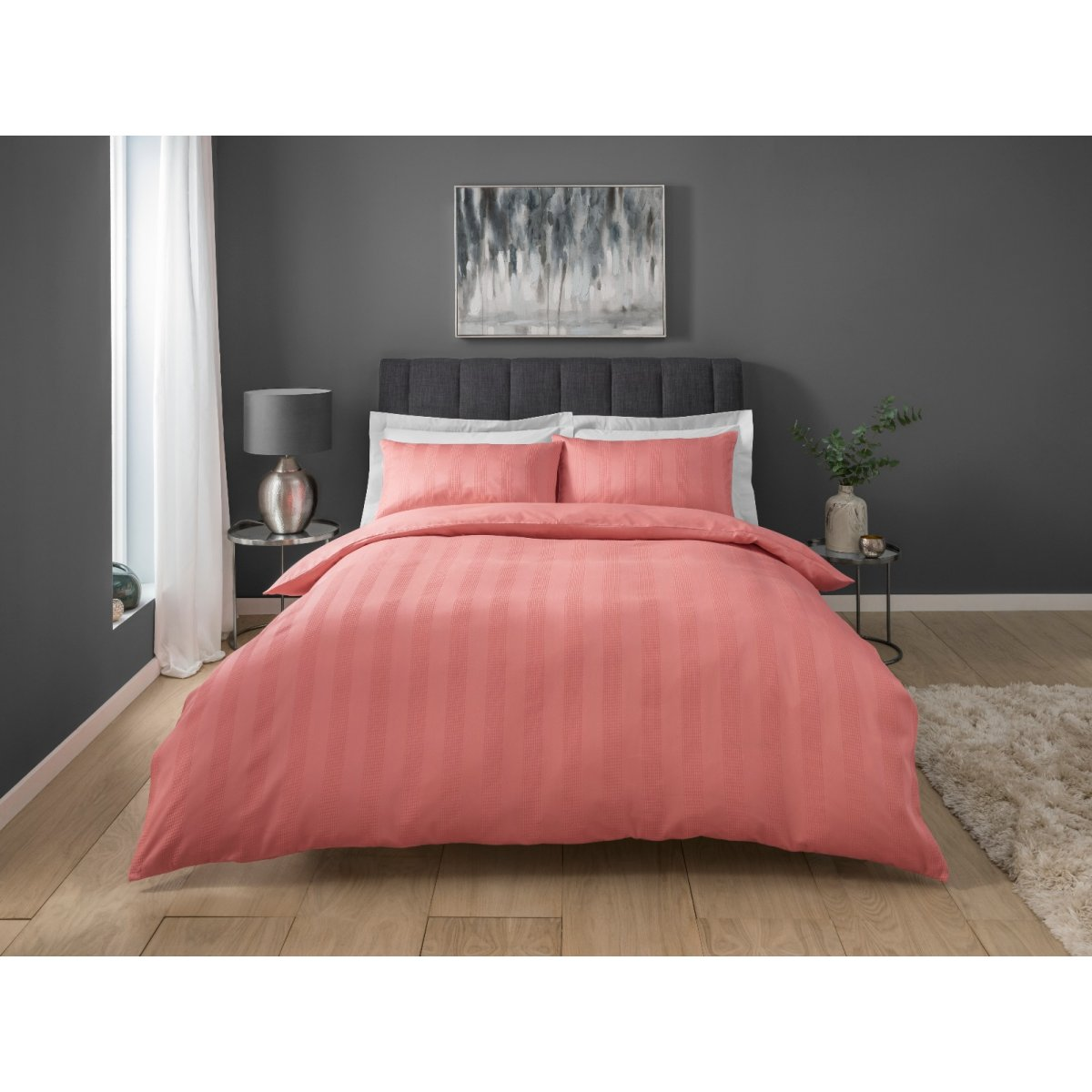 Stripe Waffle Coral Bedding - Duvet Cover and Pillowcase Set
