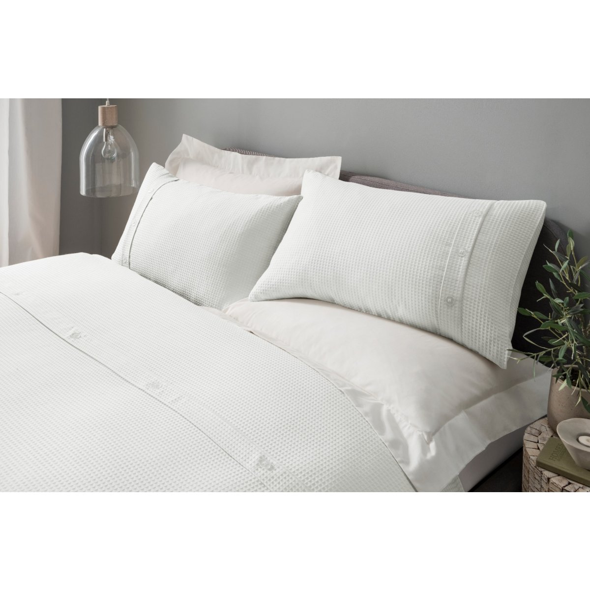 Waffle White Bedding - Duvet Cover and Pillowcase Set