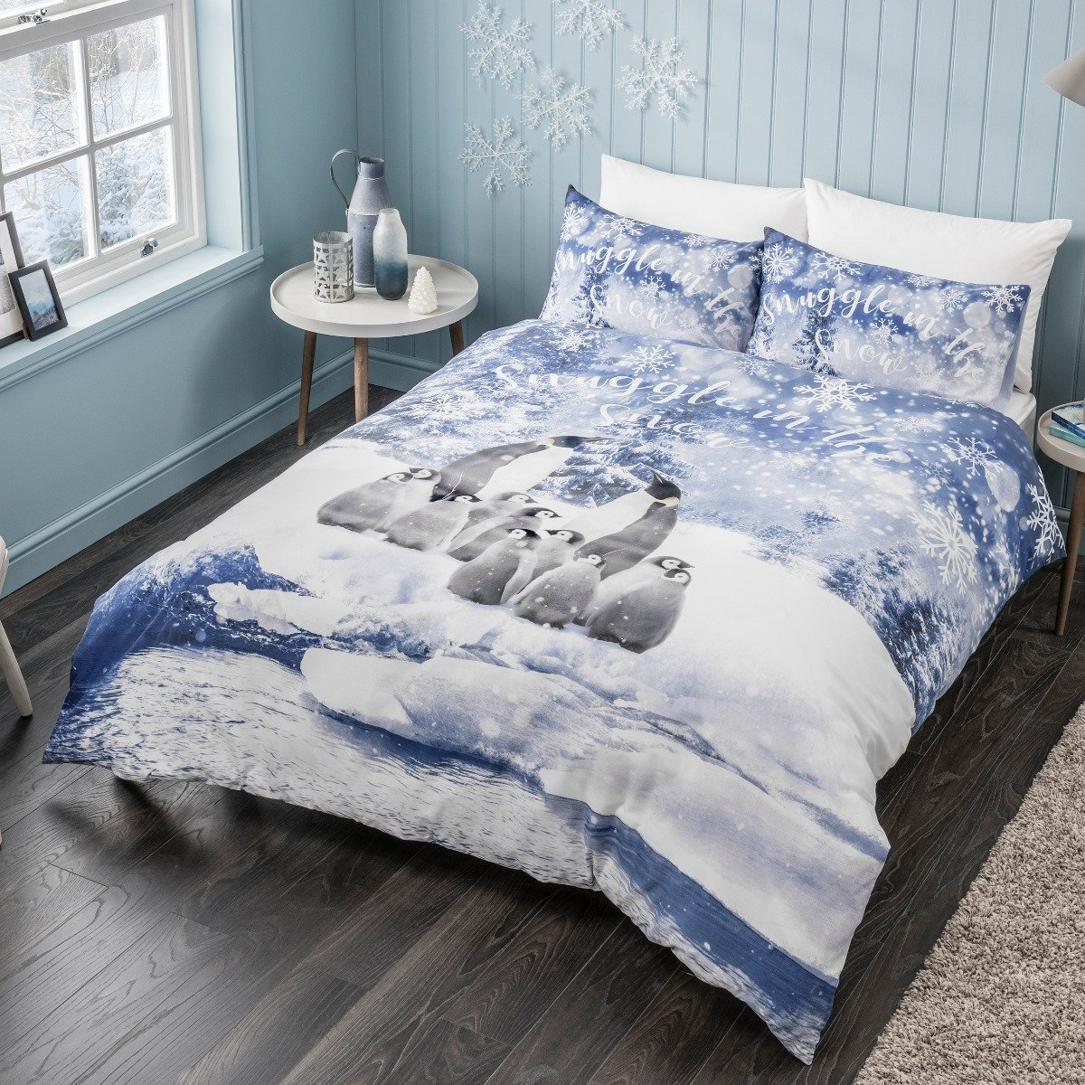 Winter Penguin Blue Bedding Set
