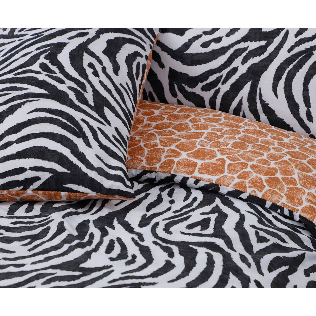 Zebra Print Monochrome Bedding - Reversible Duvet Cover and Pillowcase Set
