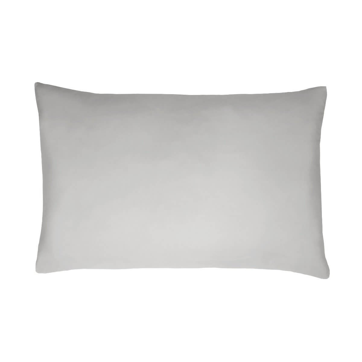 Sleepdown Pillowcase 100% Cotton Sateen Pack of Two Housewife Pillow Cover Set Anti-Allergy 300 Thread Count Luxury Bed Linen - Silver - 50 x 75cm