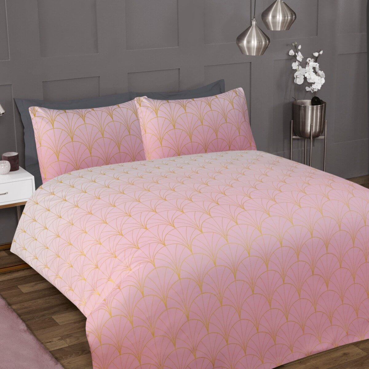 Ombre Metallic Deco Blush Pink Bedding - Luxury Duvet Cover and Pillowcase Set