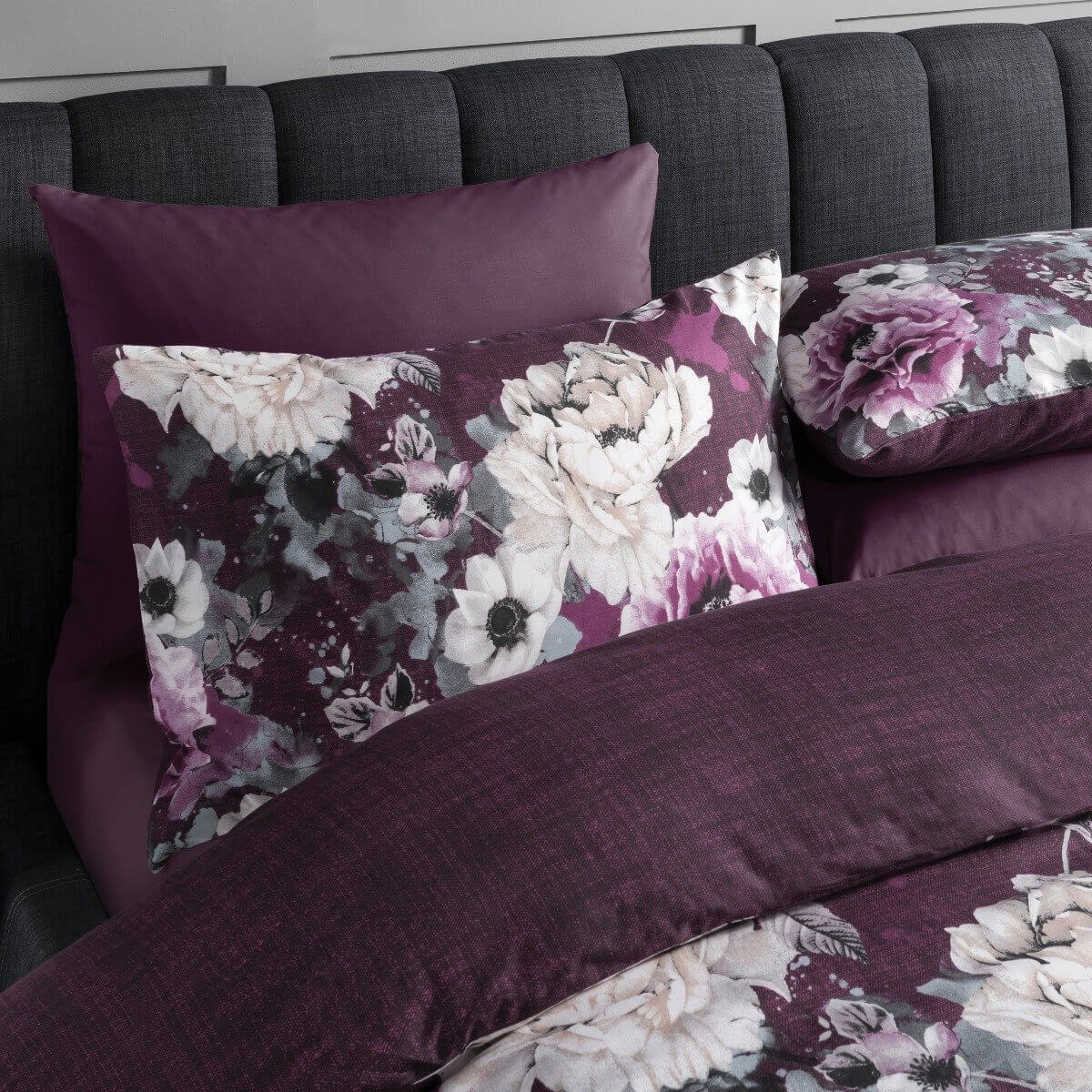 Inky Floral Purple Bedding - Reversible Duvet Cover and Pillowcase Set