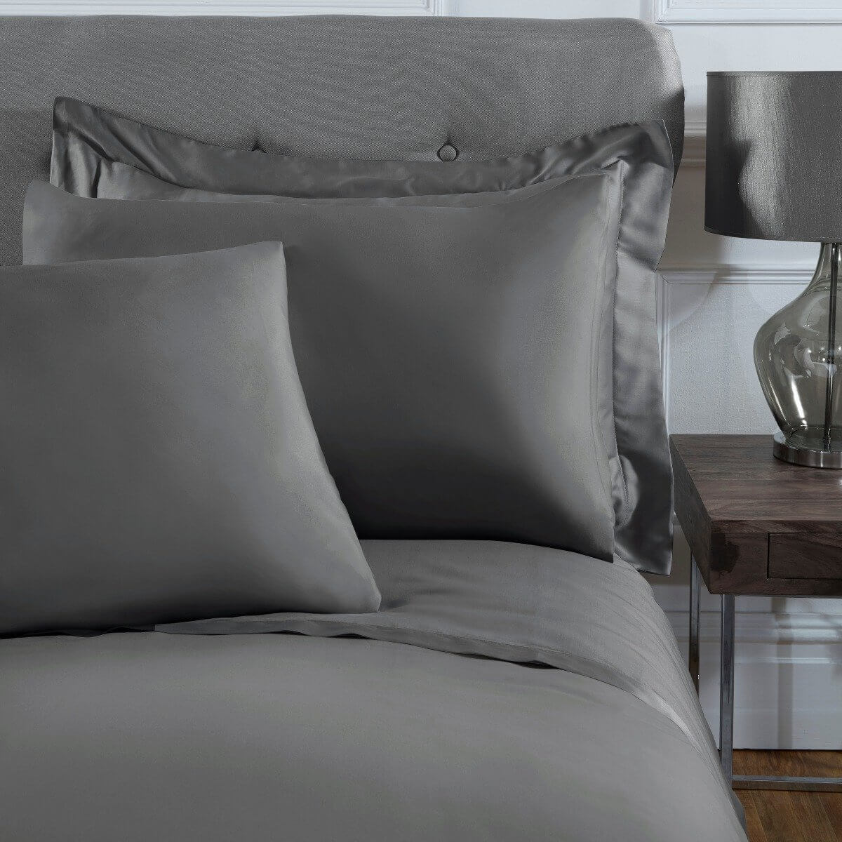 Luxury 100% Cotton Sateen 300 Thread Count Anti-Allergy Housewife Pillowcase Pair - Charcoal