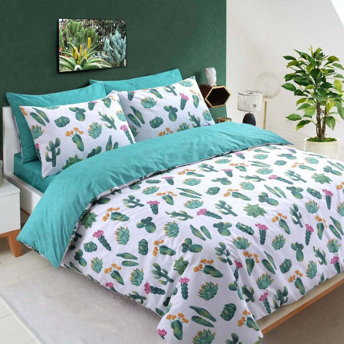 Tropical Cactus Bedding - Reversible Duvet Cover and Pillowcase Set