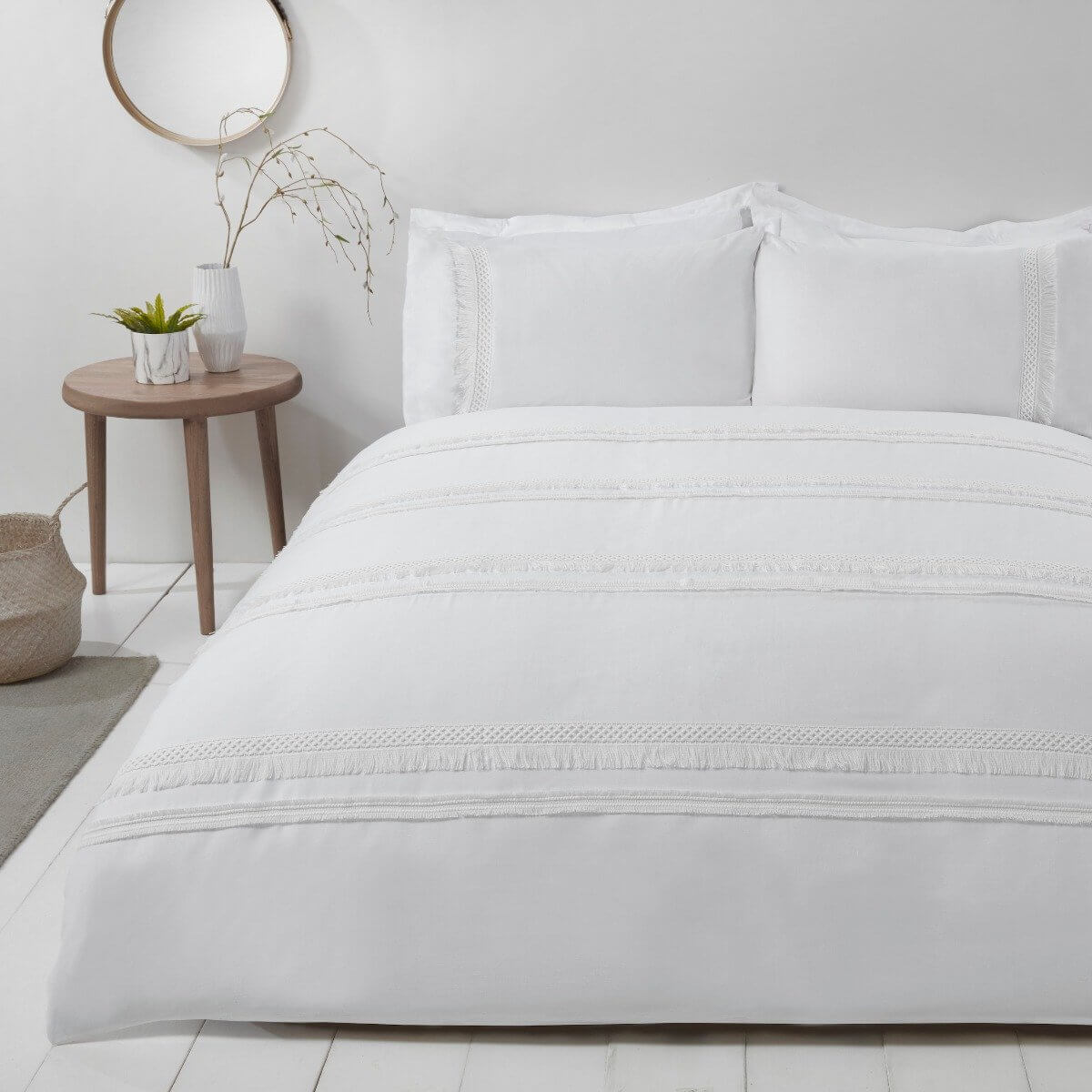 Delicate Tassel Bedding - Luxury Duvet Cover and Pillowcase Set White