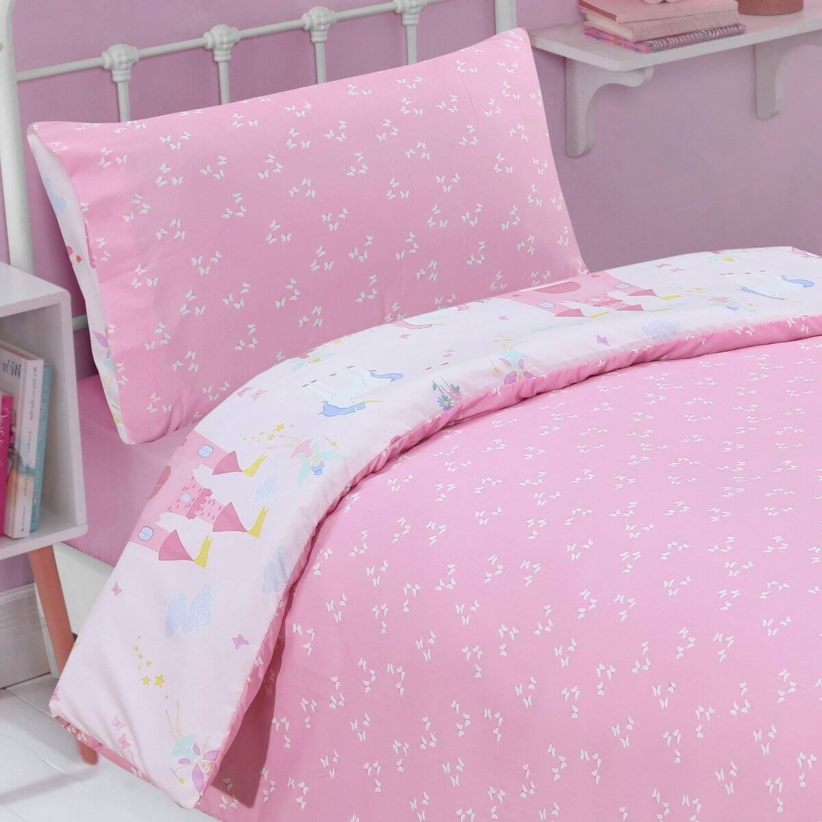 Magical Fairytale Pink Bedding - Reversible Duvet Cover and Pillowcase Set
