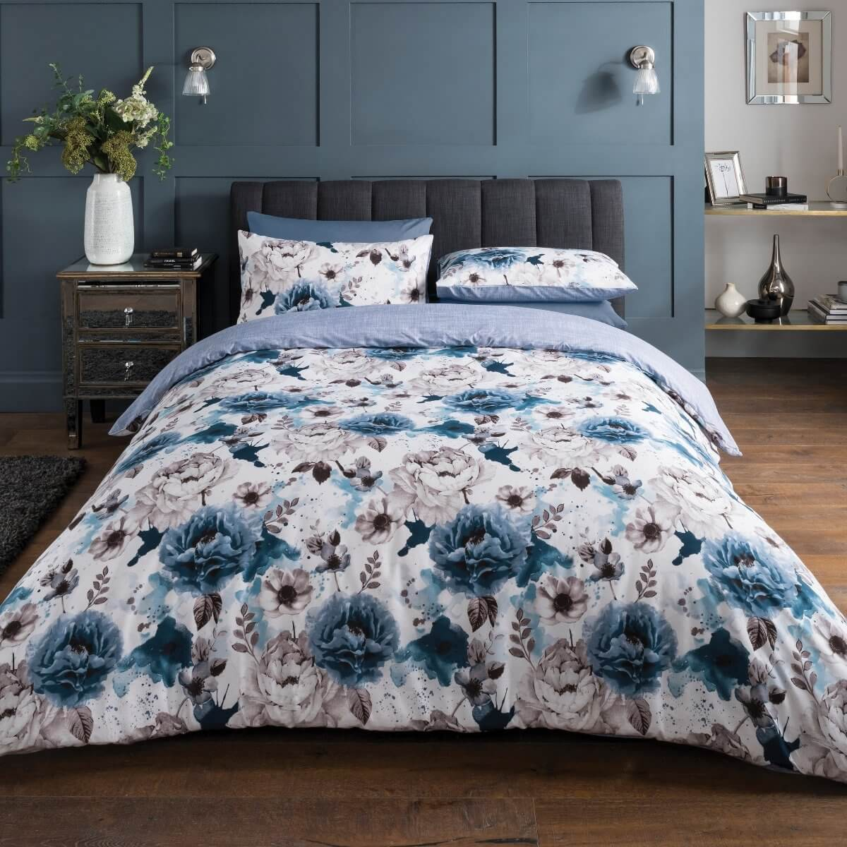 Inky Floral Blue Bedding - Reversible Duvet Cover and Pillowcase Set