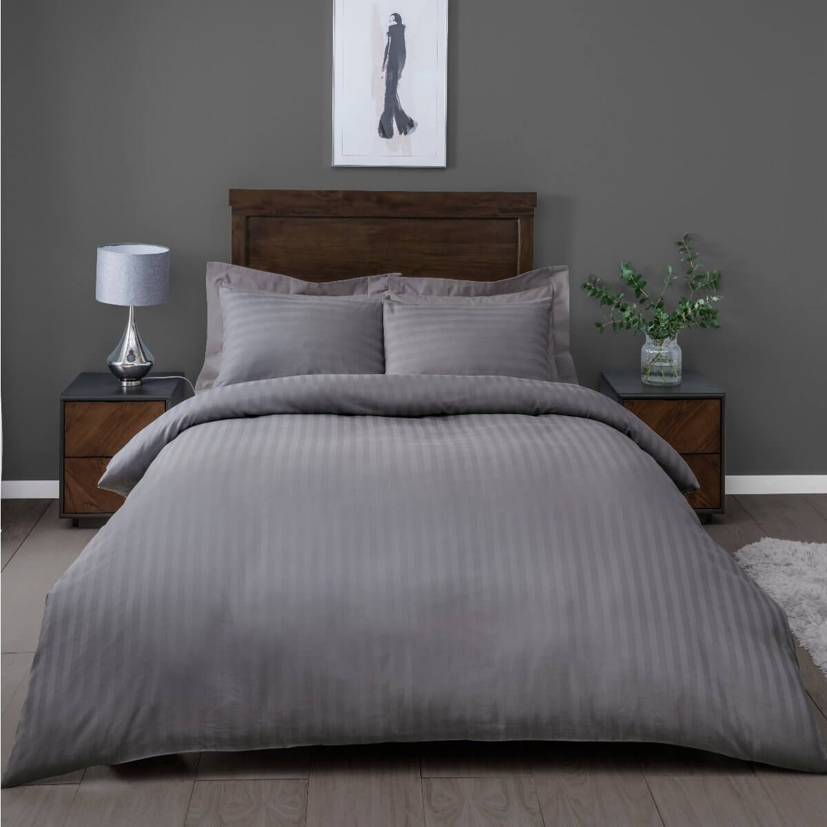 Satin Stripe Grey Bedding - 225 Thread Count Duvet Cover and Pillowcase Set