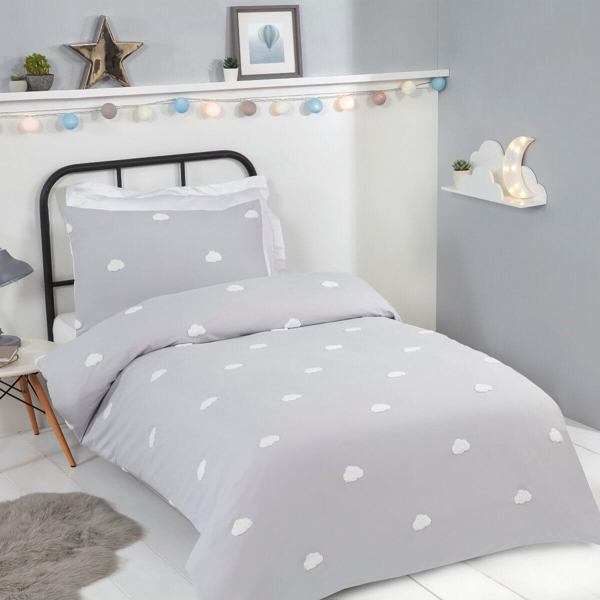 Tufted Clouds Grey Bedding - Duvet Cover And Pillowcase Set