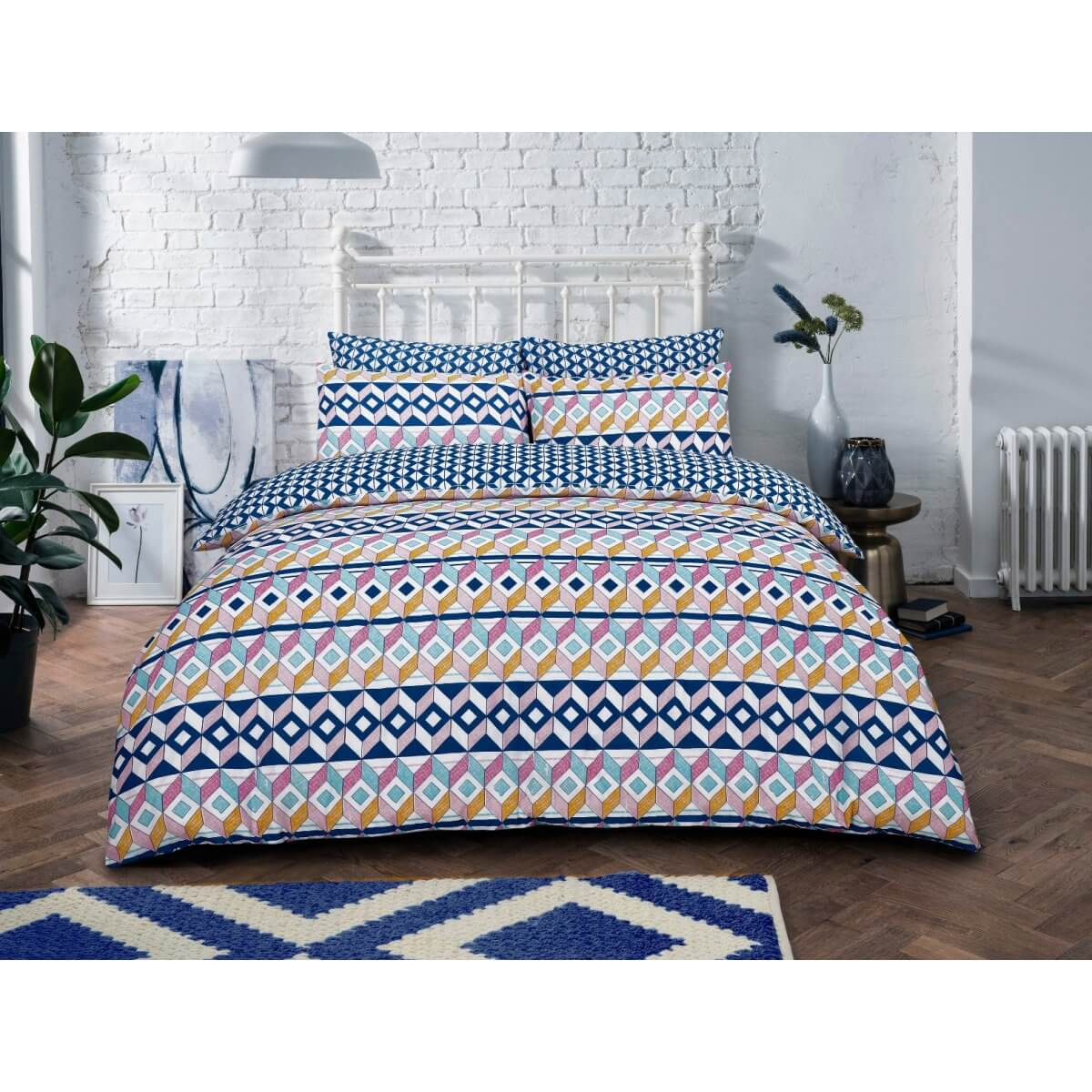 Geometric Stripes Brights Bedding - Reversible Duvet Cover and Pillowcase Set
