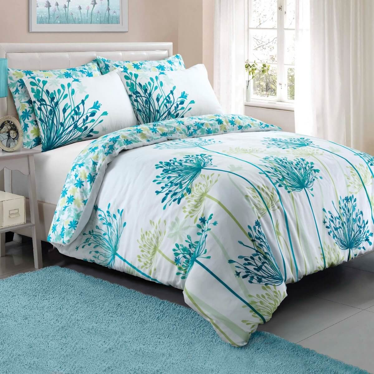 Meadow Teal Bedding - Reversible Duvet Cover and Pillowcase Set