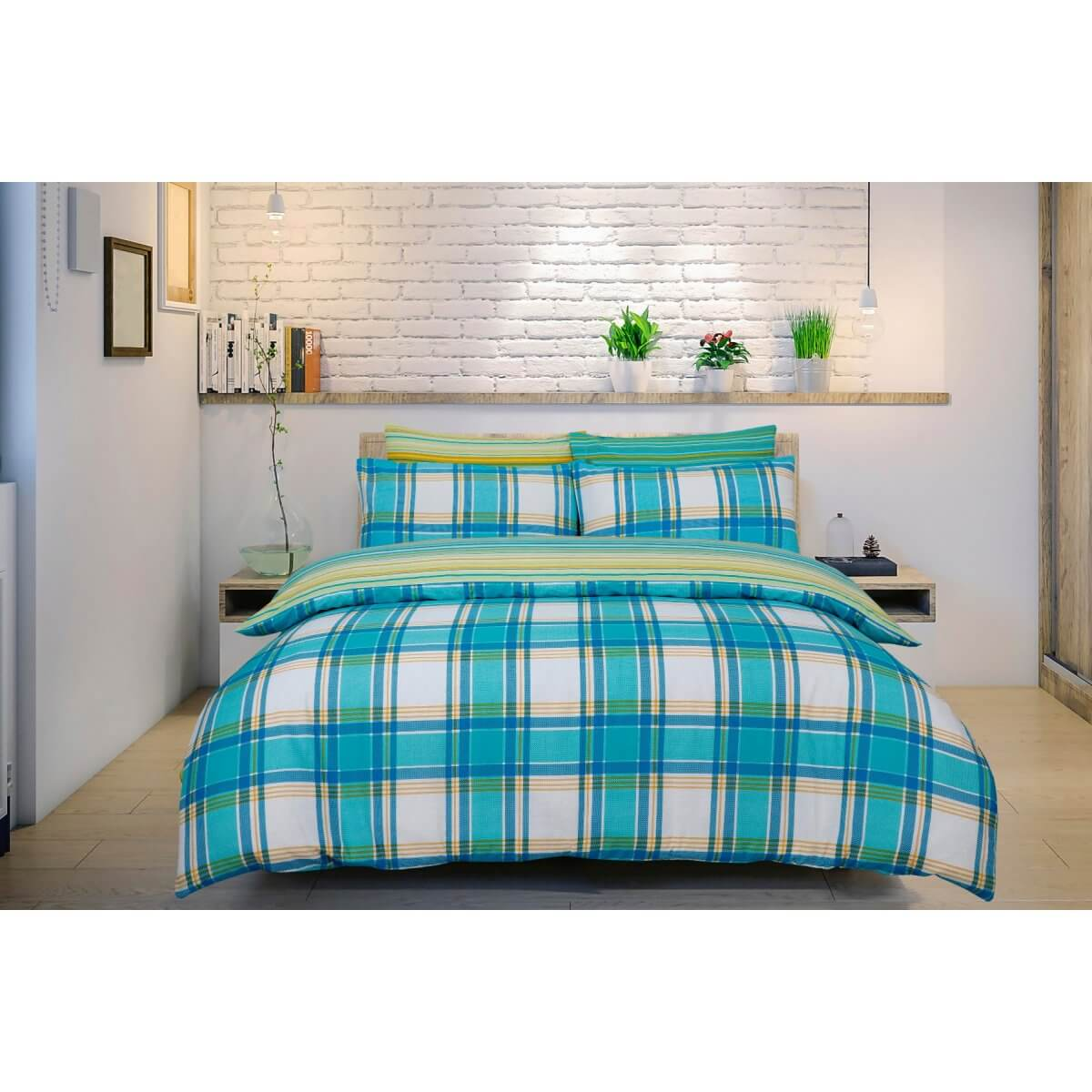 Ombre Check Teal Bedding - Reversible Duvet Cover and Pillowcase Set