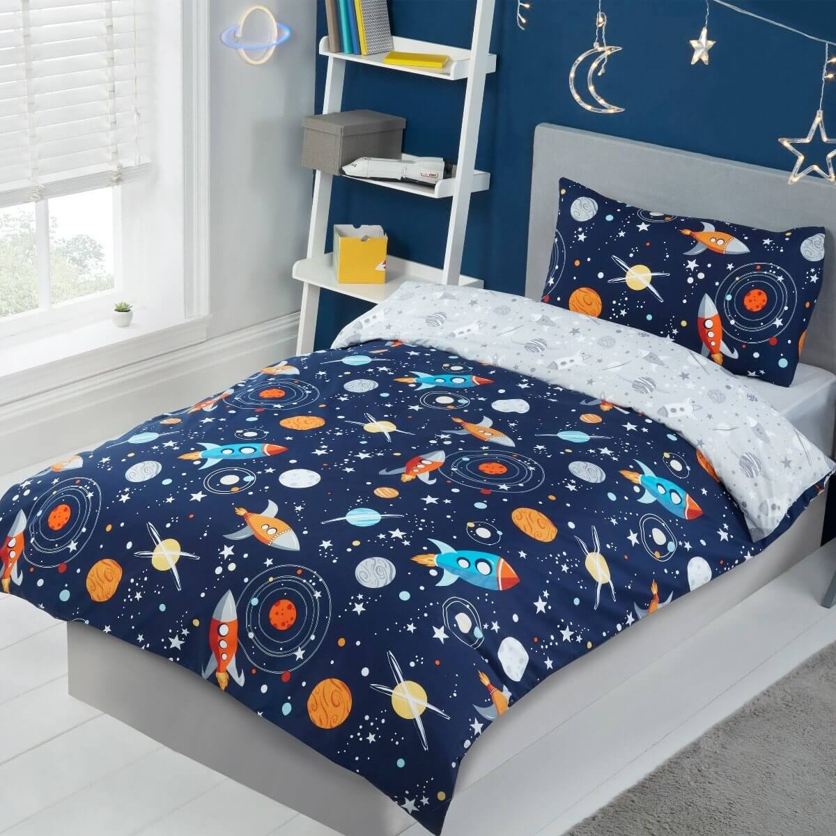 Out Of Space Navy Blue Bedding - Reversible Duvet Cover and Pillowcase Set